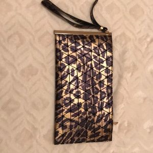 Metallic Leopard Clutch purse w/wrist strap